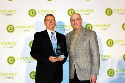 Dr. Robert McCarron, founder of Conway Orthopaedic & Sports Medicine Center, was named the 2018 Physician of the Year. McCarron (left) is pictured with Bobby Riggs of Conway Regional Physician Hospital Organization, the sponsor of the Physician of the Year award.