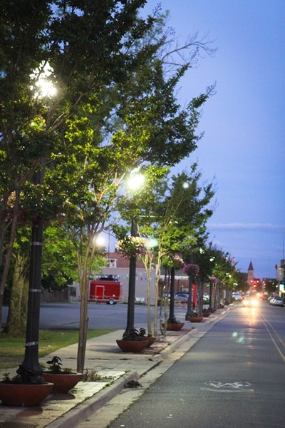 Tree-lined street in Downtown Conway, Arkansas